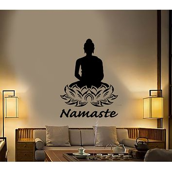Vinyl Wall Decal Namaste Hinduism Buddha Lotus Flower Meditation Room Stickers (3198ig)