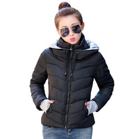 2016 Winter Women Jackets Solid Zipped Hooded Woman Coats Warm Wild Thickening Casual Jackets Fashion Cotton-padded Coat JJT307