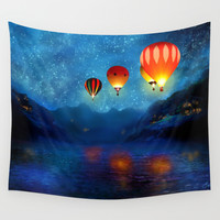 Hot Air Ballooning on a Starry Night Wall Tapestry by Cheryl Casey
