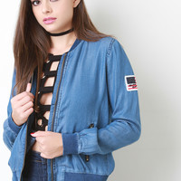 Chambray Denim Patch Bomber Jacket