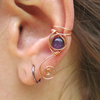 Amethyst Copper Wire Simple Spiral Ear Cuff- Purple Beaded Wire Wrap Earring- Healing Crystals- Handmade Gemstone Goddess Wedding Jewelry