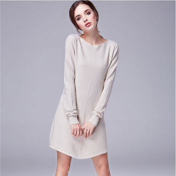 A-Line Long Sleeve Knit Sweatshirt Dress