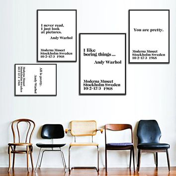 Modern Nordic Black&White Minimalist Typography Andy Warhol Life Quotes Wall Art Print Poster Wall Pictures For Livingroom Canva