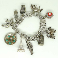 Tourist Sterling Charm Bracelet - Qualaity Vintage Sterling Silver Charms & Chain