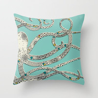 Green Octopus Throw Pillow by Rachel Russell | Society6