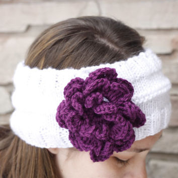 Hand knit headband, flower headband, womens headband, white headband, purple flower, ladies headband, crochet earwarmer, teenager headbands