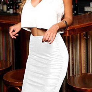 White V-Neck Sleeveless Backless Crop Top with High-Waisted Skirt Twinset