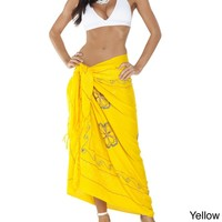 1 World Sarongs Women's Triple-embroidered 100-percent Rayon Sarong - Handmade in Indonesia | Overstock.com Shopping - The Best Deals on Sarongs/Cover Ups
