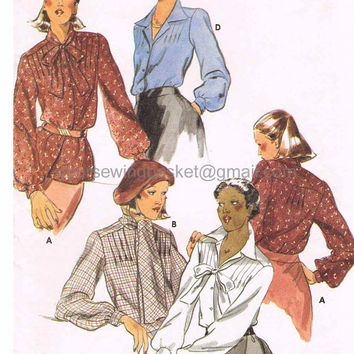 Pleated Blouse Pattern, Vintage Pattern Blouse, Retro Blouse, Butterick 5079 unused and uncut, Tunic Top, Long Sleeve Blouse, Button Front