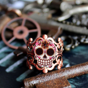 Sugar Skull Skeleton Key Adjustable Ring