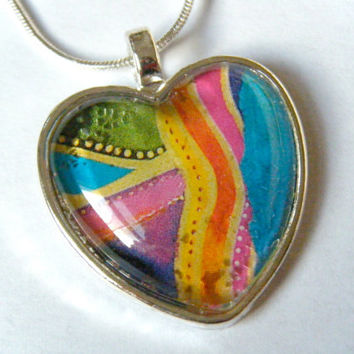 Rainbow Silver Heart Glass Tile Pendant Calendar Upcycled Recycled Material Necklace Colorful Abstract Jewelry