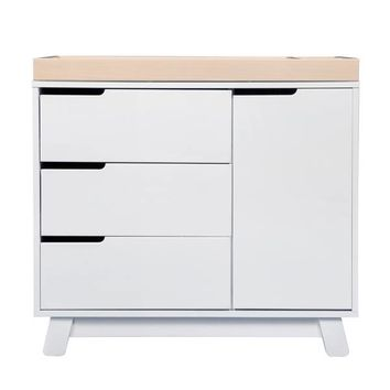 Babyletto Hudson 3-Drawer Changer Dresser in White/Washed Natural