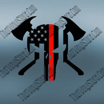 Punisher Decal | Punisher with Axes | Back the Red Flag Thin Red Line | Punisher Fireman | Yeti Fire Decal | American | Firefighter | 455