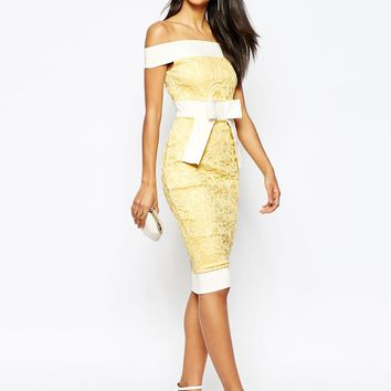 Vesper Bow Front Bardot Midi Dress at asos.com