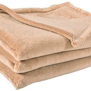 "Best Dreamcity Polar Fleece Throw Blanket, Extra Soft Brush Fabric, Lightweight Cozy Plush Microfiber, Single Piece, 50""X60"", Tan"