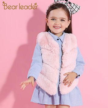 Girls Fur Outerwear New Winter Fashion Thick Warm Faux Fur Vest V-Neck Short Colorful Fur Vest