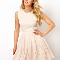 Ted Baker | Ted Baker Skater Dress with Floral Broderie Detail at ASOS