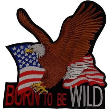 US Flag Eagle Patch Born To Be Wild Embroidered Jacket Vest Motorcycle Patriotic