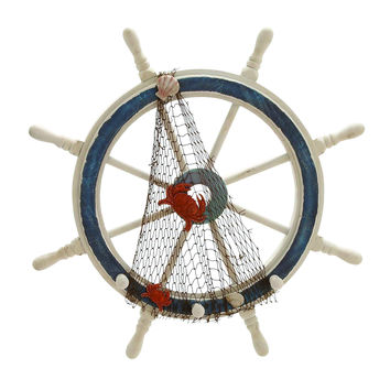 Wood Ships Wheel In Meticulously Carved Finial Work