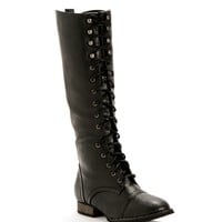 Sale-black Knee High Combat Boots