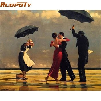 ruopoty tango square diy painting by numbers europe hand painted oil painting on canvas wall art picture for room decoration