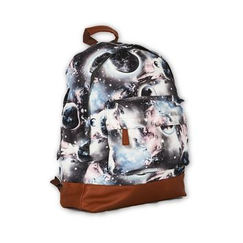 Galaxy Print Grey Canvas Backpack Design Bag