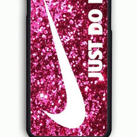 iPhone 6 Case - Rubber (TPU) Cover with logo nike just do it pink sparkle Rubber Case Design