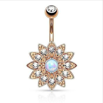 ac DCCKO2Q Hot Surgical Steel Big Flower Dangle Belly Button Ring Sexy Crystal Double Piercing Barbell Navel Piercing Fashion Body Jewelry