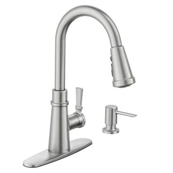 Shop Moen Hadley Chrome 1-Handle Deck Mount Pull-down Kitchen Faucet at Lowes.com