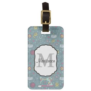 Sewing Notions Crafts Pattern / Monogram Text Luggage Tag