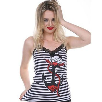 Bedroom Stories Striped Nautical Camisole