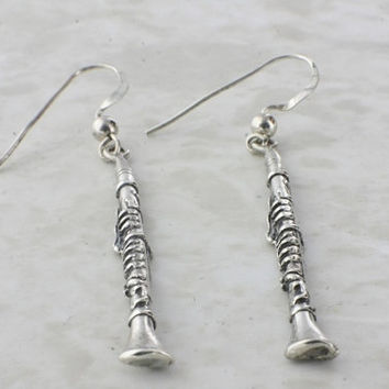 Vintage Sterling Silver Earrings Dangle Clarinet Shape Music Jewelry Woodwind Earrings Musical Instruments Abstract Modernist Artisan