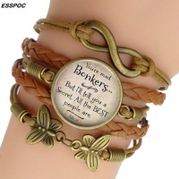 Women's Fashion Brown Leather Bracelets Alice In Wonderland Quote Print Glass Cabochon Bracelet Bangle Women Fashion Accessories