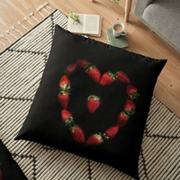 'Heart of strawberries' Floor Pillow by VanGalt