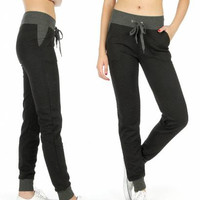 Solid Waistband 2 Tone Quilted Jogger Pants in S-XL in 6 Colors