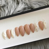 Nude marble nails • stiletto nails • Coffin nails • red nails • false nails • fake nails • glue on nails • stick on nails • gel nails