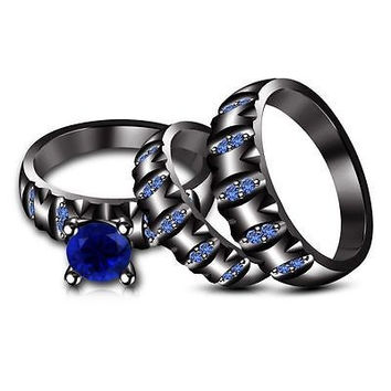 Blue Sapphire Bridal His & Her Trio Ring Set in Black Gold Over .925 Silver BBI