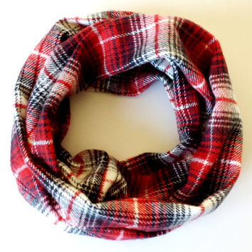 Red & Black Soft Flannel Toddler Tube Scarf Young Girls Fashion Fall Accessories Childrens Infinity Scarf Toddler Fashion Scarves