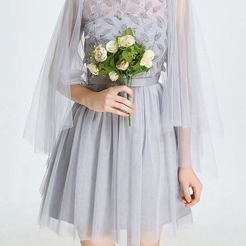 Grey Patchwork Grenadine Fluffy Puffy Tulle Bridesmaid Billowing Sleeves Mini Dress