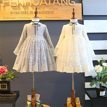 Summer Baby Girl solid lace Dress Clothes Children Long Sleeve mesh clothing Kids cute princess lace Dresses