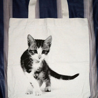 Cute Cat Bag - Kitten Bag Kitty Cat Canvas Bag Tote Bag Animal Bag Shopping Bag Market Bag Funny Bag Teen Girl Women Chic Fashion Bag