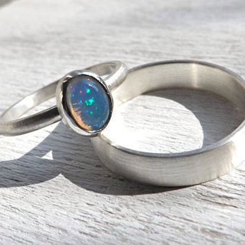 opal wedding ring set, delicate opal ring silver, white opal engagement ring set, silver wedding band set, october birthstone ring opal