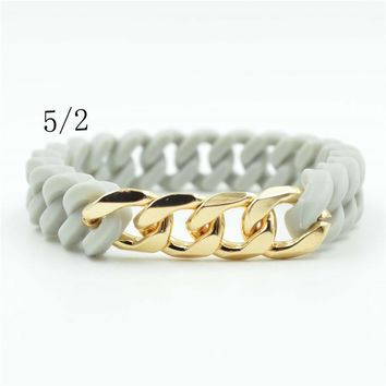 Silicone Bracelets for Gift Fashion Sport Rubber Bracelets Free Shipping gold chain  Rubber Bangle for men and women