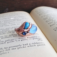 Blue Teardrop - Vintage Glass Electroformed Ring - Size 6