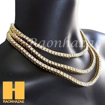 Hip Hop Iced Out Tennis Choker Necklace 1 Row Solitaire Lab Diamond 4.5mm Chain