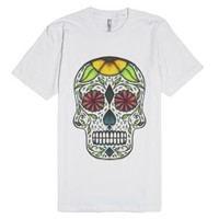 Day of The Dead (Doodle Skull)-Unisex White T-Shirt
