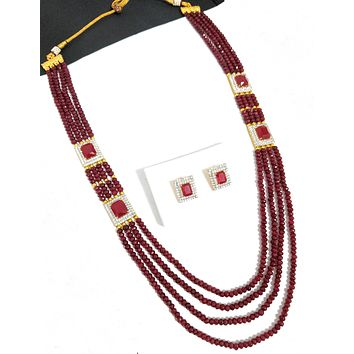 4 stranded crystal bead chain with rectangle cz stone side charm necklace and stud earring set