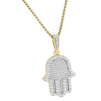 "Religious Designer Iced Out Hamsa Hand Pendant Silver Free 24"" Steel Box Chain"
