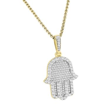 """Religious Designer Iced Out Hamsa Hand Pendant Silver Free 24"""" Steel Box Chain"""