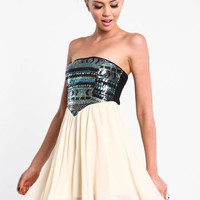 SEQUIN AND CHIFFON TRIBAL PARTY DRESS
